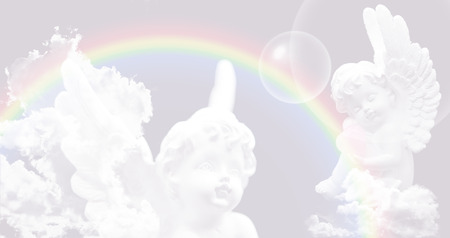 prana: Angel on a pastel background with rainbow and clouds Stock Photo