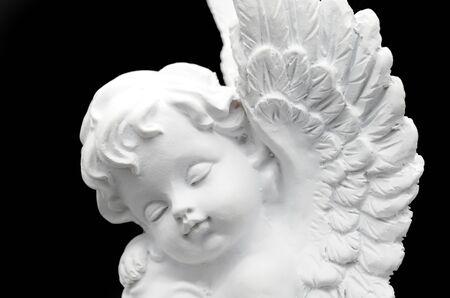 universal healer: Beautiful white Angel on black background