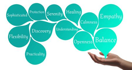healer: Colour Therapy  Turquoise healing energy Stock Photo