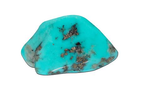Sample of a beautiful Turquoise stone tumbled specimen isolated on white background