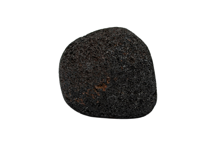 Sample of a beautiful Lava stone tumbled speciment isolated on white background