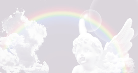 universal healer: White Angel on the sky with rainbow