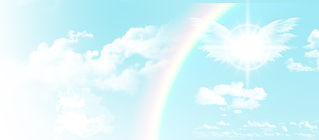 blissful: Blue sky with clouds and a rainbow
