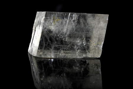 spiritual energy: Sample of a beautiful natural raw Calcite specimen over black background Stock Photo