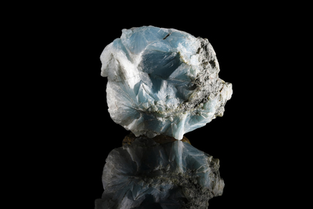 Sample of a beautiful Larimar speciment isolated on black  background
