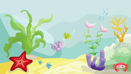 Zeebodem met vissen, zeesterren, krabben en zeewier