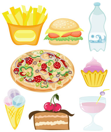 Set fast food on a white background Vector