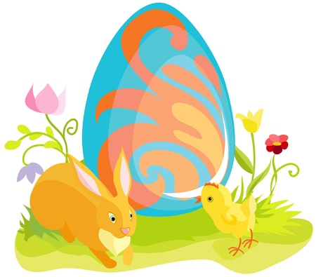Beautiful easter card with the drawn rabbit, a chicken and egg Stock Vector - 8916676