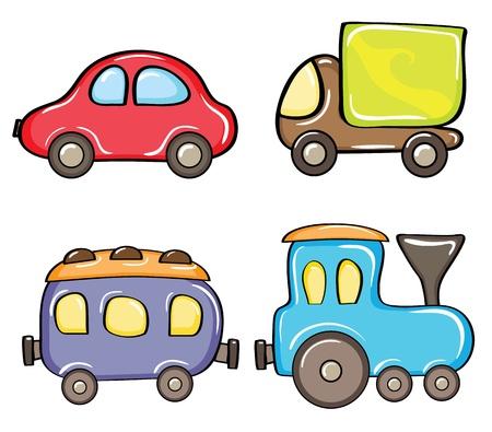tren caricatura: Conjunto de coches de color de dibujos animados sobre un fondo blanco