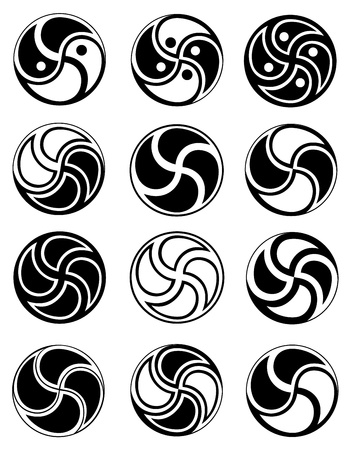 ying yan: Creative symbols in style of ying yang on a white background