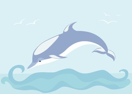 marine bird: El delf�n hermoso nada en el mar Vectores