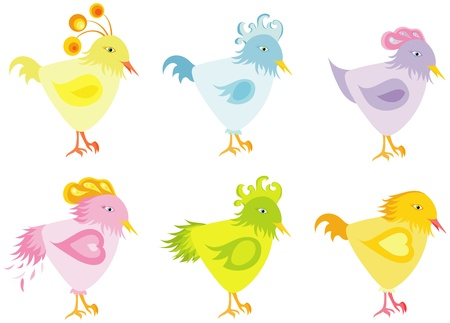 Set of color nice birds Vector