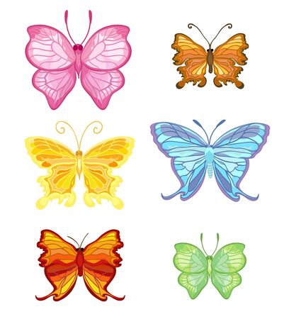 Six elegant fragile beautiful colorful butterfly Stock Vector - 9643143