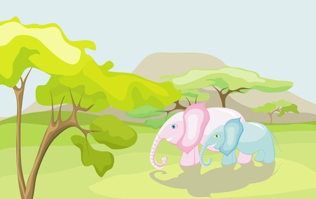 Elephants in the wild nature Vector