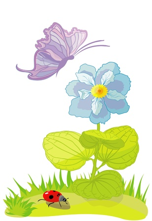 Flower with the butterfly and ladybird Stock Vector - 9718380