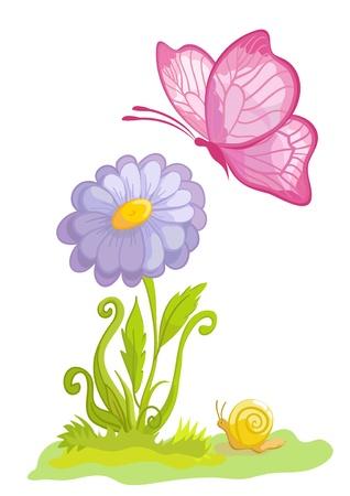 kamille: Blume mit dem Schmetterling auf wei�em Hintergrund Illustration