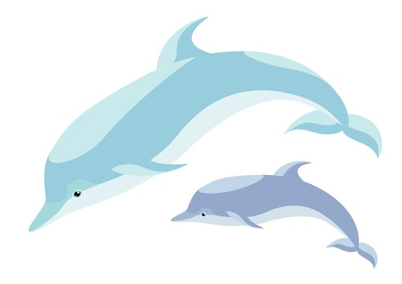 Two nice dolphins mum and cub Vector