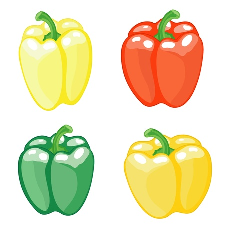 Set from four pepper on white background