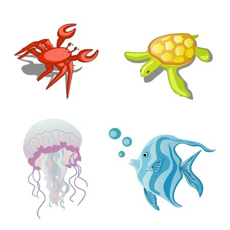 Sea animals crab, turtle, fish and jellyfish Vector