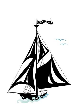 deportes nauticos: En la distancia en el mar es visible la silueta del barco Vectores