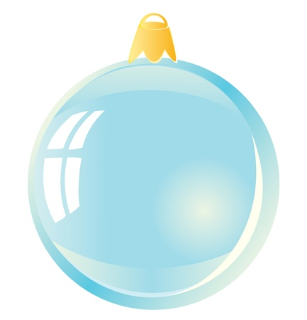 Christmas ball. Blue sphere on a white background.