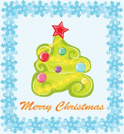Christmas card. A fir with color balls surrounded with snowflakes on a blue background.