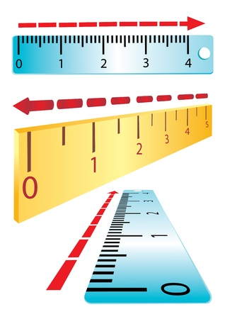 Set of rulers on a white background. Perspective.