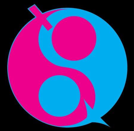 simbolo uomo donna: Ying yang simbolo di armonia ed equilibrio. L'uomo e la donna simbolo