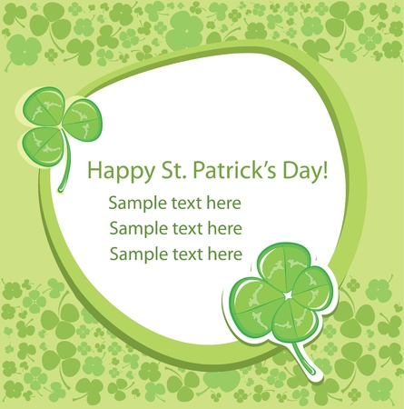 four leafed: Saint Patricks Day. Card with green clover background.