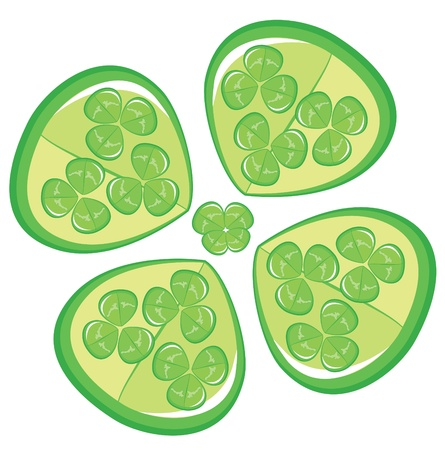 Four leaf clover on white background. St. Patricks day Vector