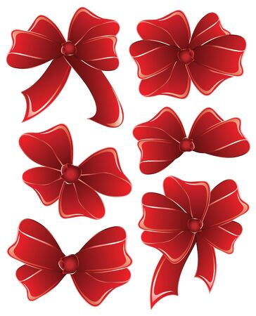 Set red ribbon on white  background. Bows isolated. Vector
