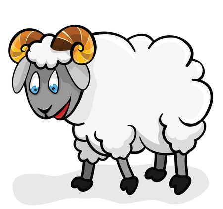 Cute sheep on a white background. Illustration. Cartoon.  Lamb