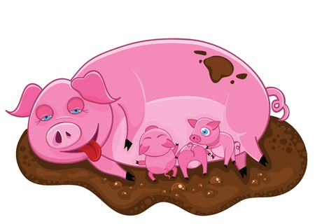 The pink pig lies in a dirt with piglets.