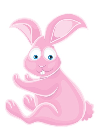 Fluffy cute pink rabbit on a white background.