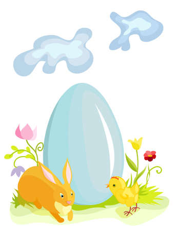 Blue easter egg with rabbit and chicken Illustration