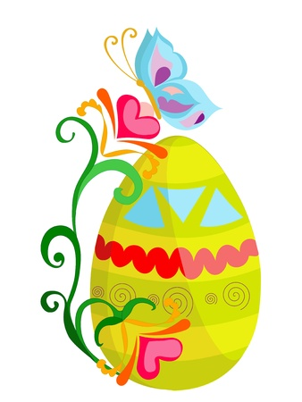 Easter egg with bright butterfly and flourish pattern Vector