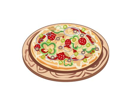 The big fragrant and hot pizza on board
