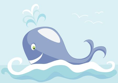 blue whale: The big whale floating on the blue sea Illustration