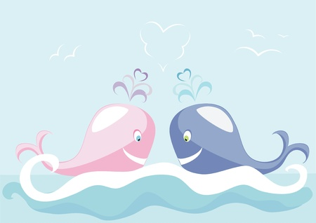 Two big whales, swimming in the dark blue sea Stock Vector - 12495840