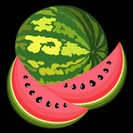 The big, juicy water-melon on black background
