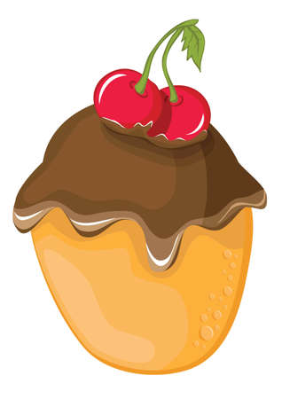 Chocolate cake with cherry on white background Vector