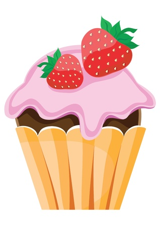 Fruit cake with strawberry on white background Vector