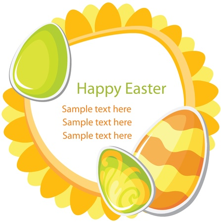 Easter card template on white background Vector