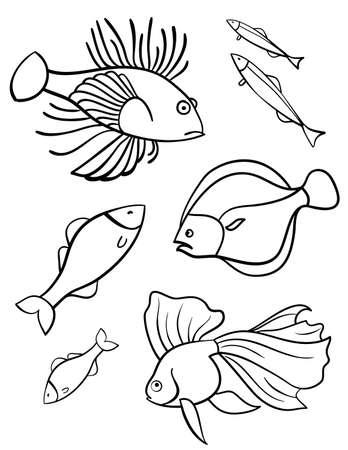 Fishes a set of vector illustration, symbols  Set of fishes on a white background  Sign  Emblem
