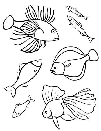aquarium hobby: Fishes a set of vector illustration, symbols  Set of fishes on a white background  Sign  Emblem