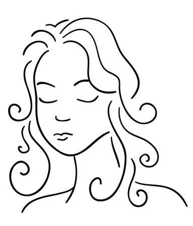 Beautiful face woman on a white background  Vector