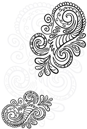 Scroll pattern  Seamless floral background  Vector illustration