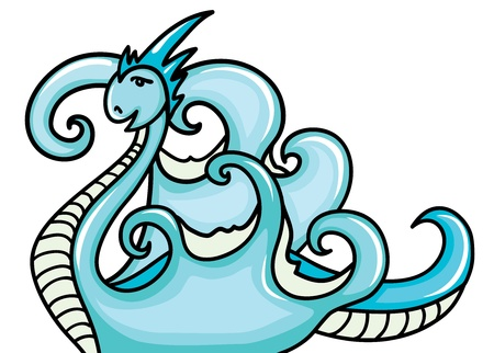 Beautiful water dragon on a white background  Year of a dragon  Vector