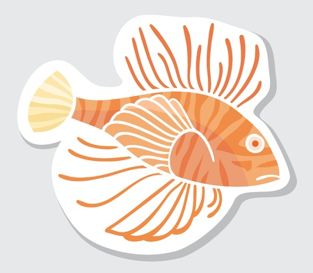 Vector color fish for your design  Sticker  Lion fish  Vector