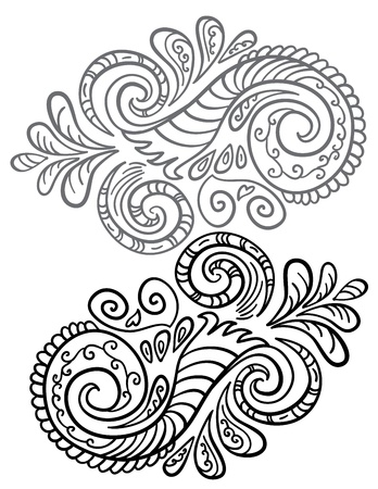 Abstract scroll pattern  Seamless floral background  Illustration
